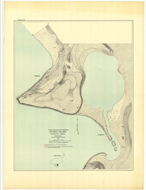 18 x 24 inch 1891 US old nautical map drawing chart of Tolstoi and Lagoon Rookeries St. Paul Island Bering Sea - Alaska From  US Commission of Fish and Fisheries x23