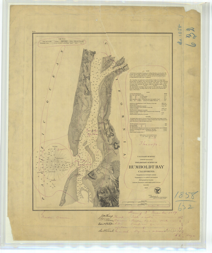 18 x 24 inch 1858 US old nautical map drawing chart of Preliminary Survey of Humboldt Bay California From  U.S. Coast Survey x4649
