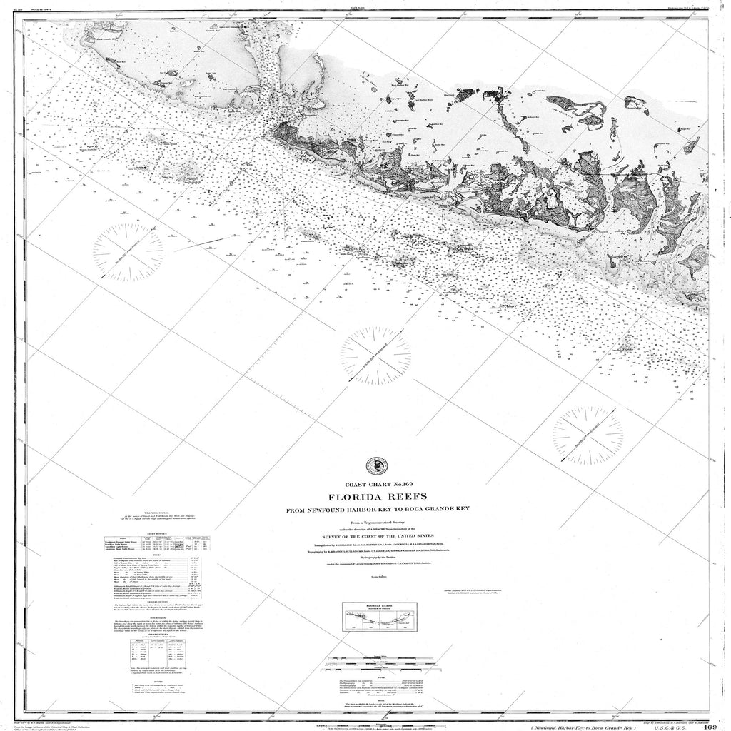 18 x 24 inch 1857 US old nautical map drawing chart of Navigation Chart of the Florida Reefs, from Newfound Harbor Key to Boca Grande Key From  C&GS x1777