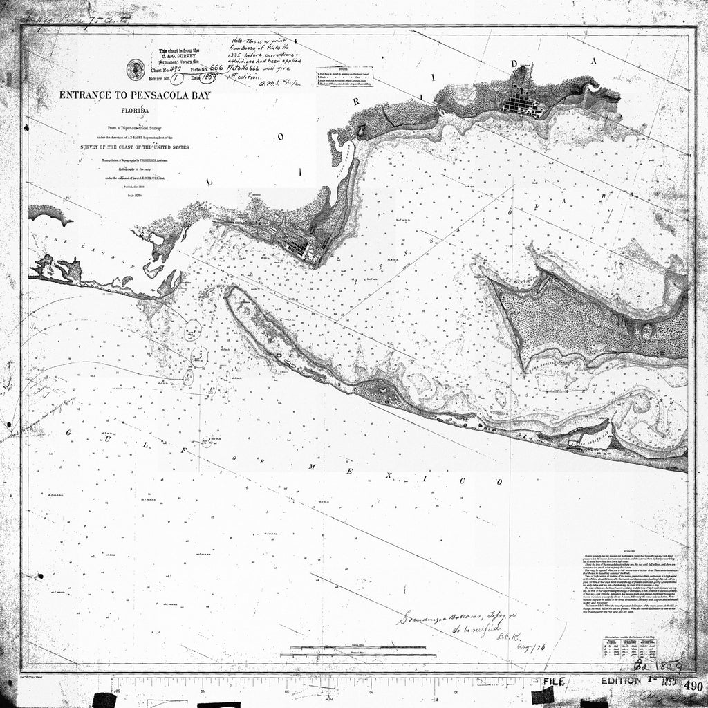 18 x 24 inch 1876 US old nautical map drawing chart of ENTRANCE TO PENSACOLA BAY From  US Coast & Geodetic Survey x1346