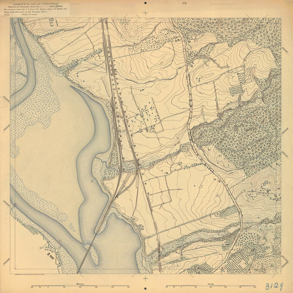 18 x 24 inch 1895 US old nautical map drawing chart of BALTIMORE AND POTOMAC R R From  US Coast & Geodetic Survey x1600
