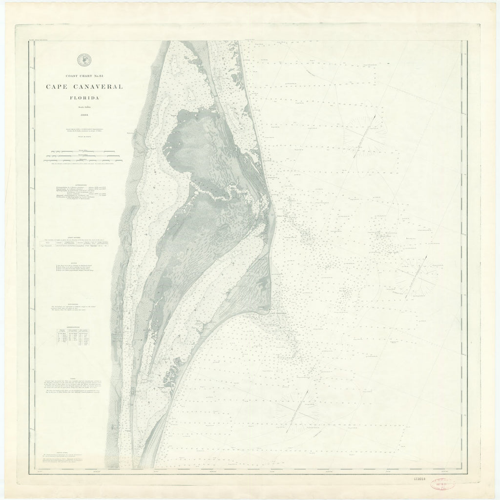 18 x 24 inch 1883 US old nautical map drawing chart of CAPE CANAVERAL, FLORIDA From  US Coast & Geodetic Survey x2122