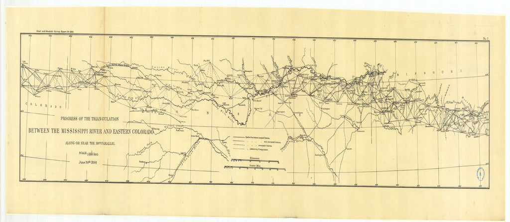 18 x 24 inch 1890 Ohio old nautical map drawing chart of Progress of the triangulation between the Ohio and Mississippi rivers and eastern Colorado along or near the thirtyninth parallel From  US Coast & Geodetic Survey x6757