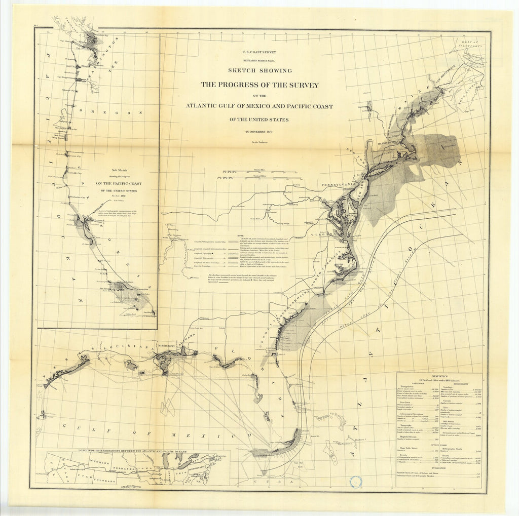 18 x 24 inch 1870 US old nautical map drawing chart of Sketch Showing the Progress of the Survey on the Atlantic Gulf of Mexico and Pacific Coast of the United States to November 1870.. From  U.S. Coast Survey x1822