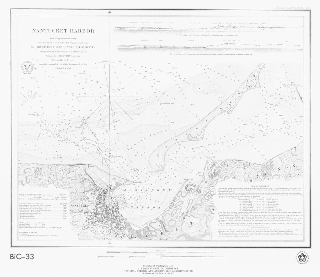 18 x 24 inch 1848 US old nautical map drawing chart of NANTUCKET HARBOR From  NOAA x2704