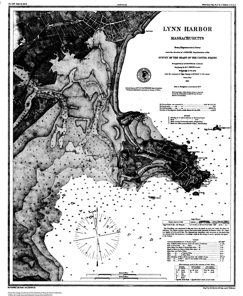 18 x 24 inch 1859 US old nautical map drawing chart of Nautical Chart of Lynn Harbor From  U.S. Coast Survey x2738