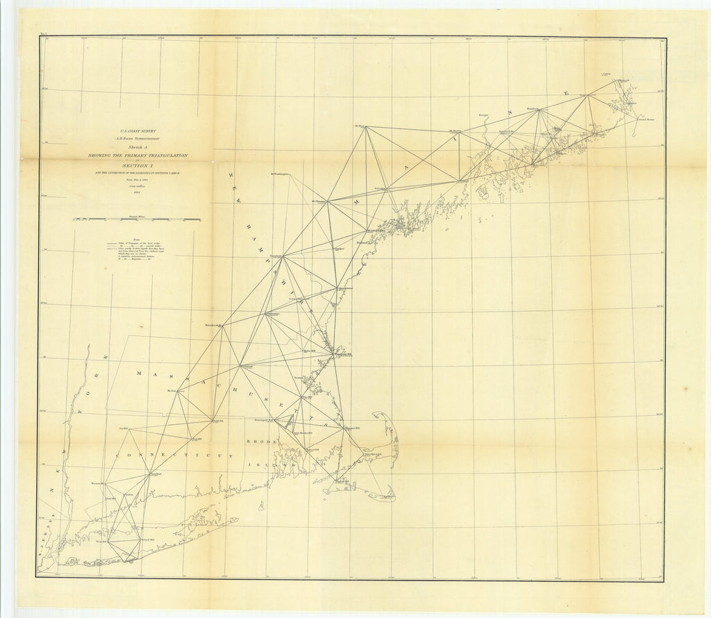 18 x 24 inch 1862 US old nautical map drawing chart of Sketch A Showing the Primary Triangulation in Section 1 and the Connection of the Baselines in Sections 1 and 2 from 1844 to 1862 From  U.S. Coast Survey x5860