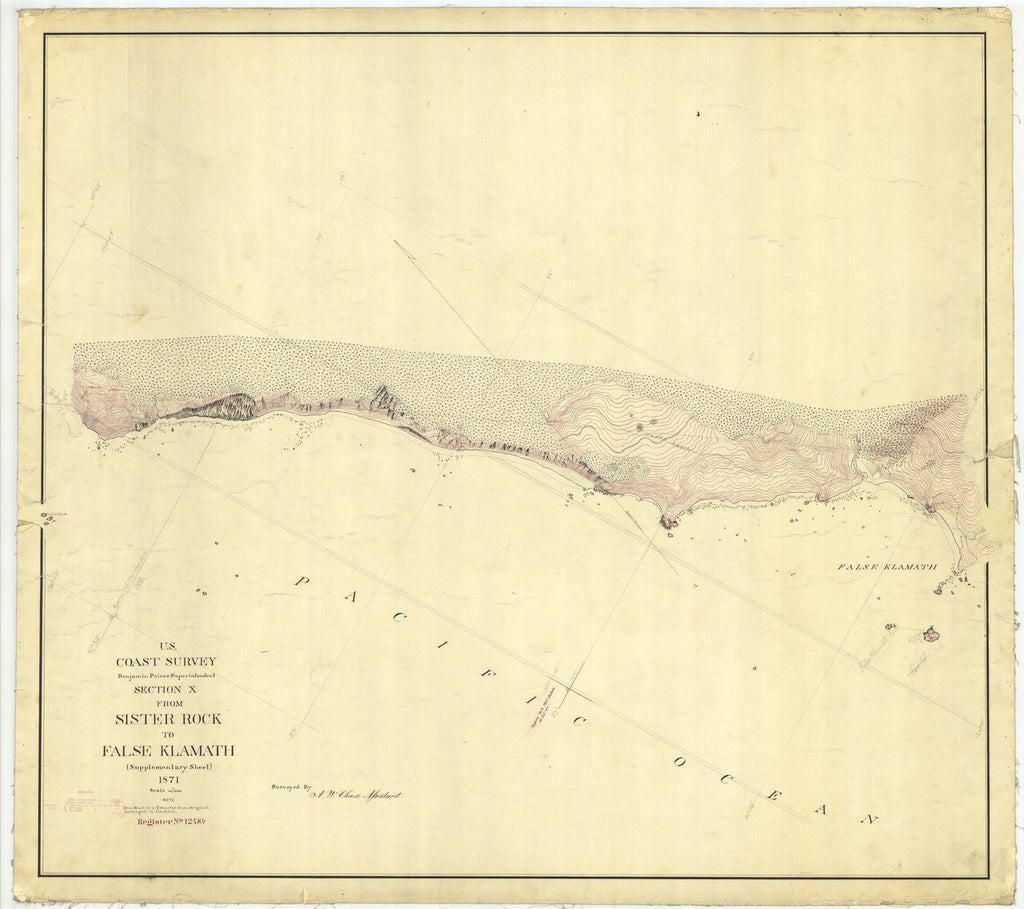 18 x 24 inch 1871 US old nautical map drawing chart of From Sister Rock to False Klamath From  U.S. Coast Survey x450