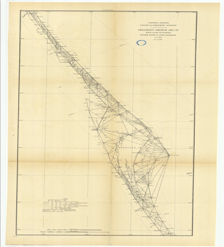 18 x 24 inch 1883 US old nautical map drawing chart of Progress Sketch, Section 6, East Coast of Florida, Halifax River to Cape Canaveral From  US Coast & Geodetic Survey x2559