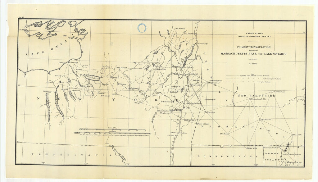 18 x 24 inch 1881 New Hampshire old nautical map drawing chart of Primary Triangulation Between the Massachusetts Base and Lake Ontario From  US Coast & Geodetic Survey x7582