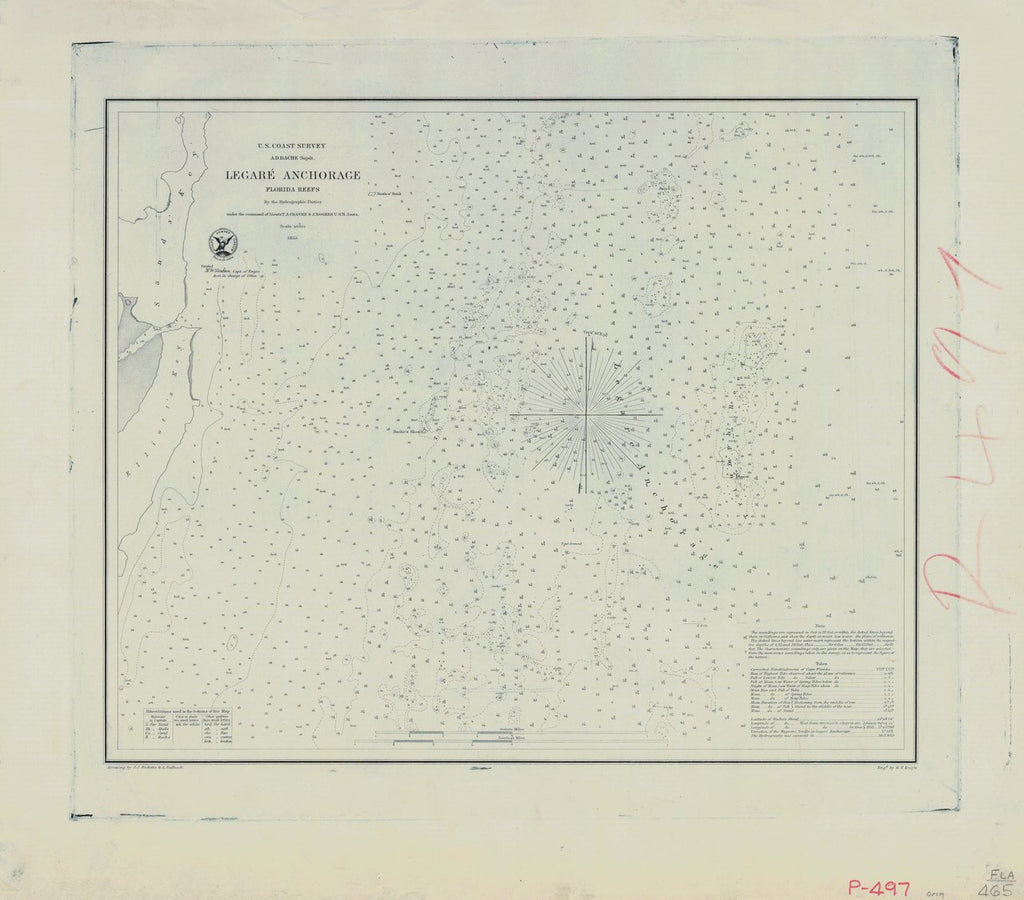 18 x 24 inch 1855 US old nautical map drawing chart of LEGARE ANCHORAGE From  U.S. Coast Survey x757