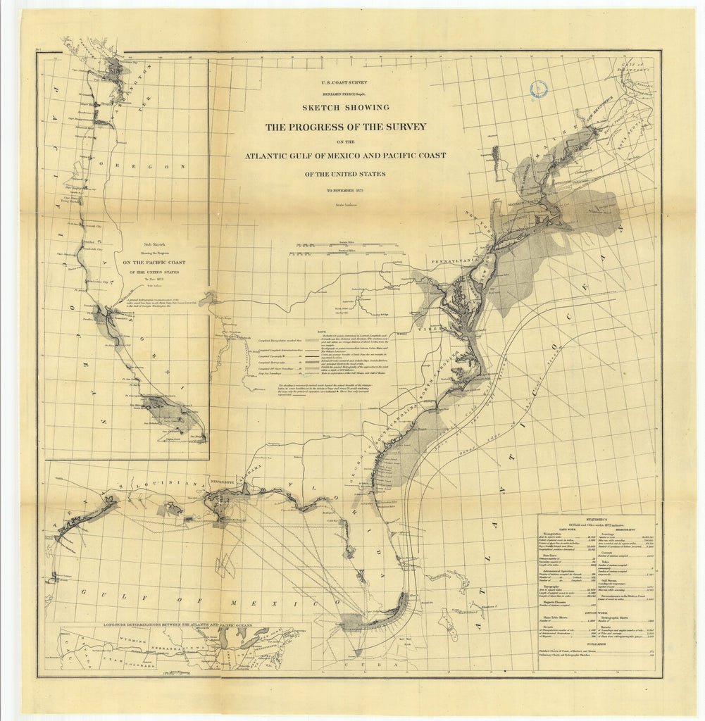 18 x 24 inch 1873 US old nautical map drawing chart of Sketch Showing the Progress of the Survey on the Atlantic Gulf of Mexico and Pacific Coast of the United States to November 1873.. From  U.S. Coast Survey x1843