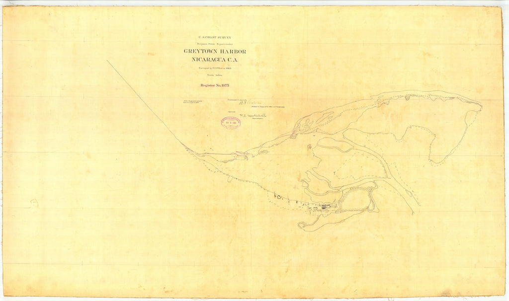 18 x 24 inch 1865 US old nautical map drawing chart of Graytown Harbor Nicaragua CA From  U.S. Coast Survey x1691