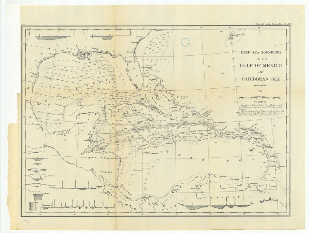 18 x 24 inch 1881 US old nautical map drawing chart of Deep Sea Soundings in the Gulf of Mexico and Caribbean Sea From  US Coast & Geodetic Survey x1052