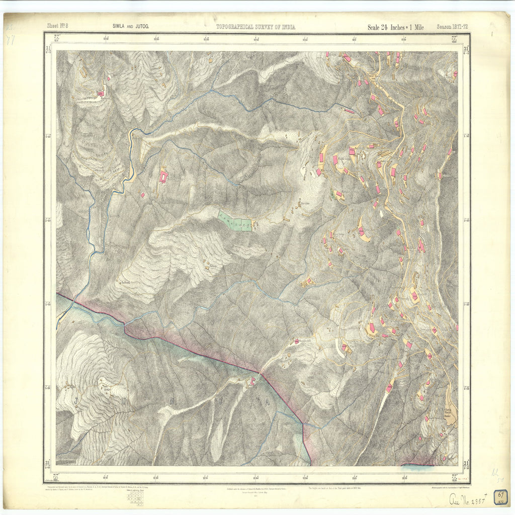 18 x 24 inch 1873 OTHER old nautical map drawing chart of Topographical Survey of India Simla and Jutog From  Surveyor General's Office x7258
