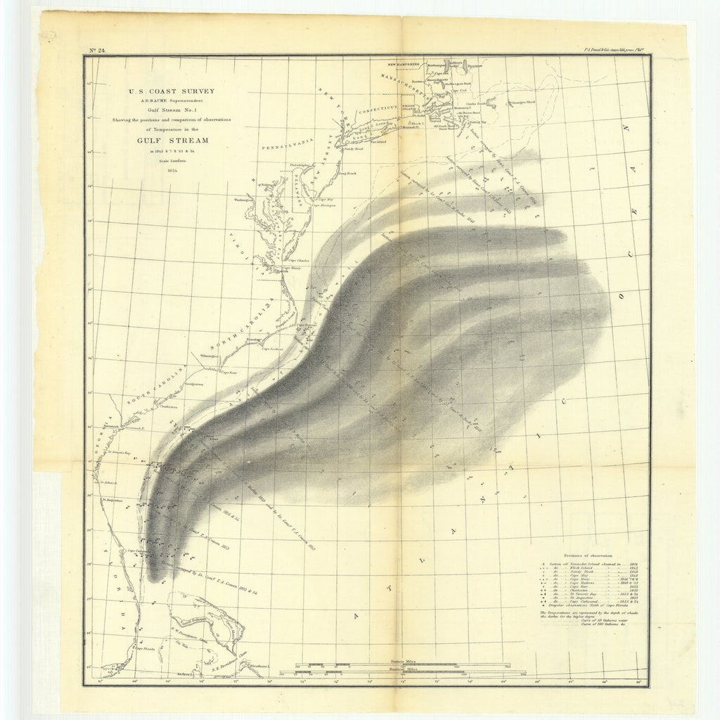 18 x 24 inch 1854 US old nautical map drawing chart of Gulf Stream Number 1 Showing the Positions and Comparisons of Observations of Temperature in the Gulf Stream in 1845 through 1848, 1853 and 1854 From  U.S. Coast Survey x2252