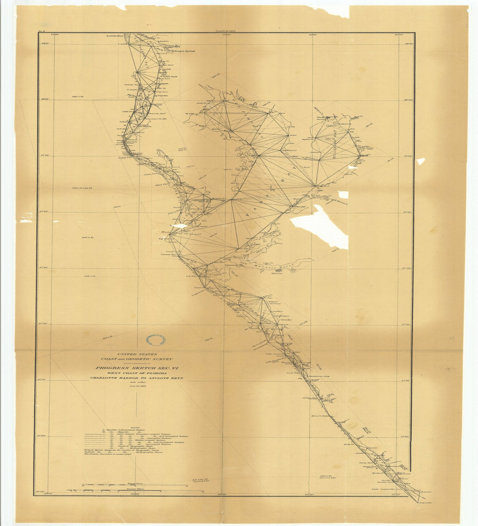 18 x 24 inch 1884 US old nautical map drawing chart of Progress Sketch, Section 6, West Coast of Florida, Charlotte Harbor to Anclote Keys From  US Coast & Geodetic Survey x2563