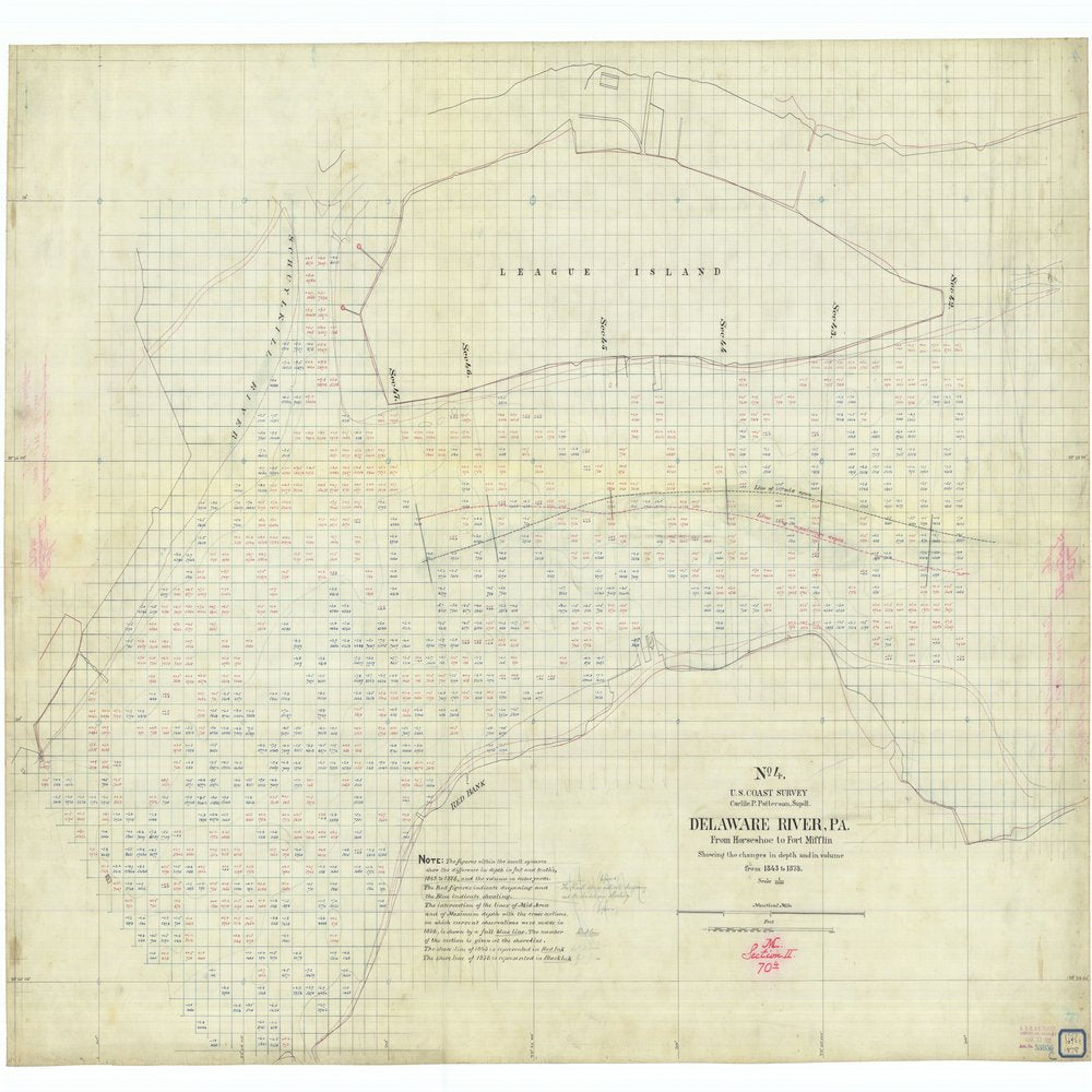 18 x 24 inch 1878 US old nautical map drawing chart of Delaware River Pennyslvania From Horseshoe to Fort Mifflin #4 From  US Coast & Geodetic Survey x1080