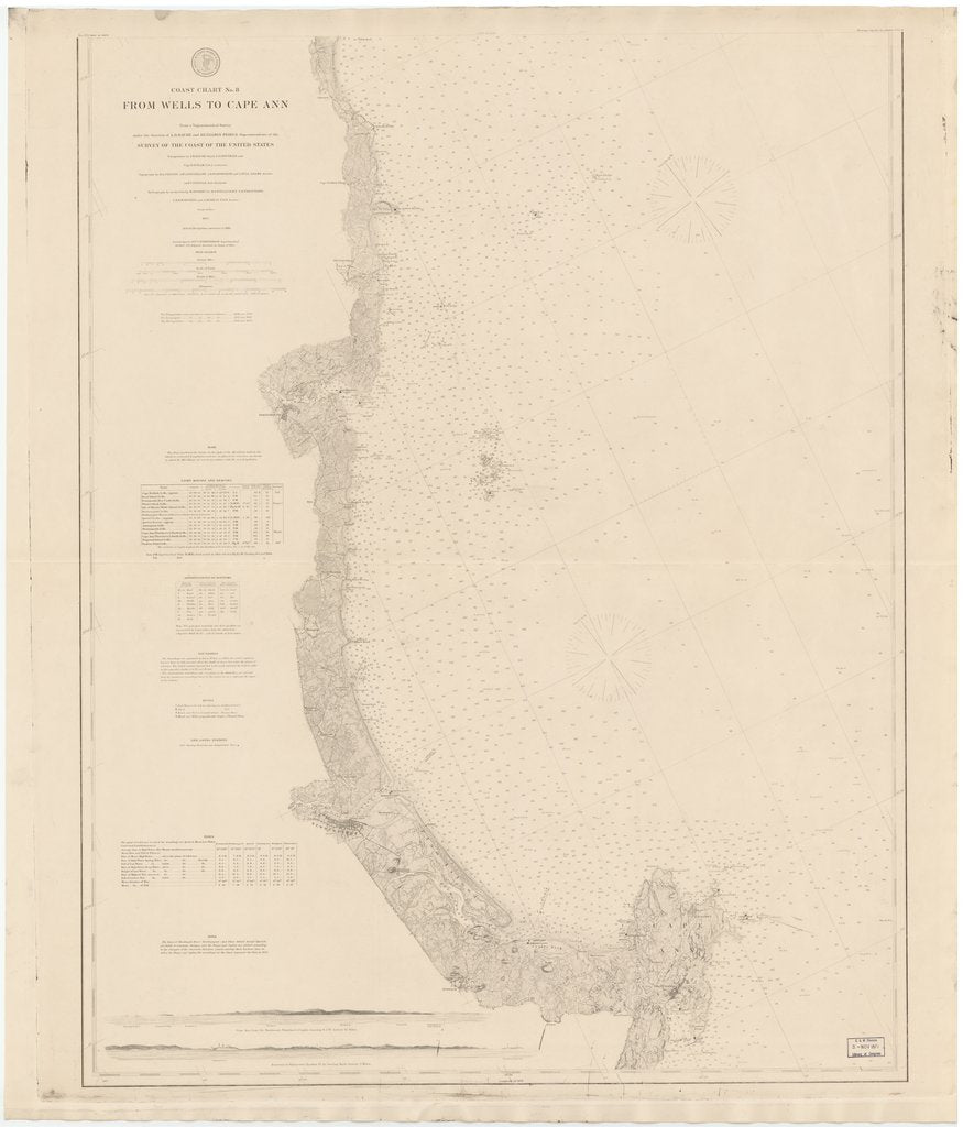 18 x 24 inch 1884 New York old nautical map drawing chart of FROM WELLS TO CAPE ANN From  US Coast & Geodetic Survey x7095