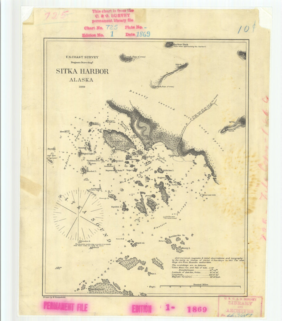 18 x 24 inch 1869 US old nautical map drawing chart of Sitka Harbor Alaska From  U.S. Coast Survey x883
