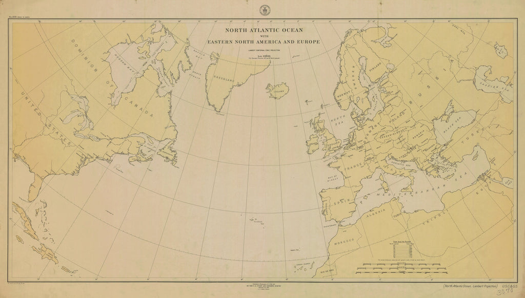 18 x 24 inch 1918 USA old nautical map drawing chart of NORTH ATLANTIC OCEAN WITH EASTERN NORTH AMERICA AND EUROPE From  C&GS x12130