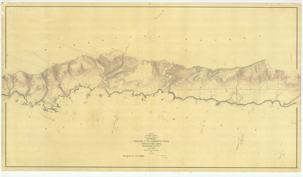 18 x 24 inch 1871 US old nautical map drawing chart of Welch to Cuffeys Cove North of Point Arena Mendocino County From  U.S. Coast Survey x2042