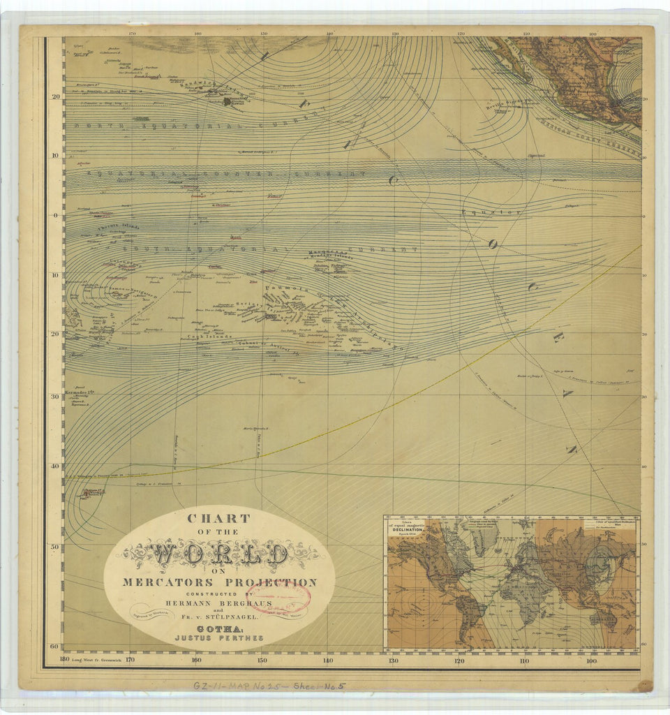 18 x 24 inch 1867 WORLD old nautical map drawing chart of Chart of the World on Mercators Projection with Lines of Equal Magnetic Declination From  Justus Perthes x11813