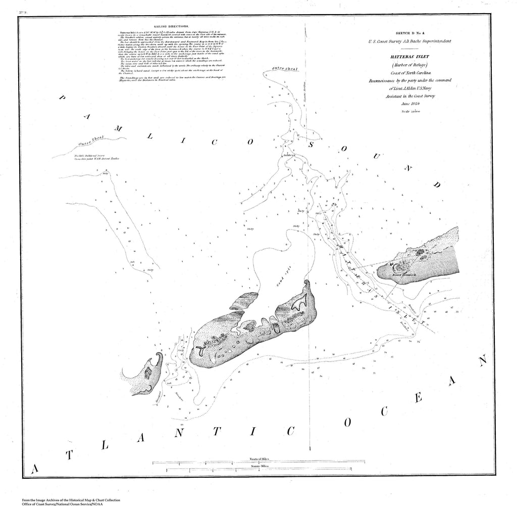 18 x 24 inch 1849 US old nautical map drawing chart of Navigation Chart for Hatteras Inlet, Coast of North Carolina From  U.S. Coast Survey x5489
