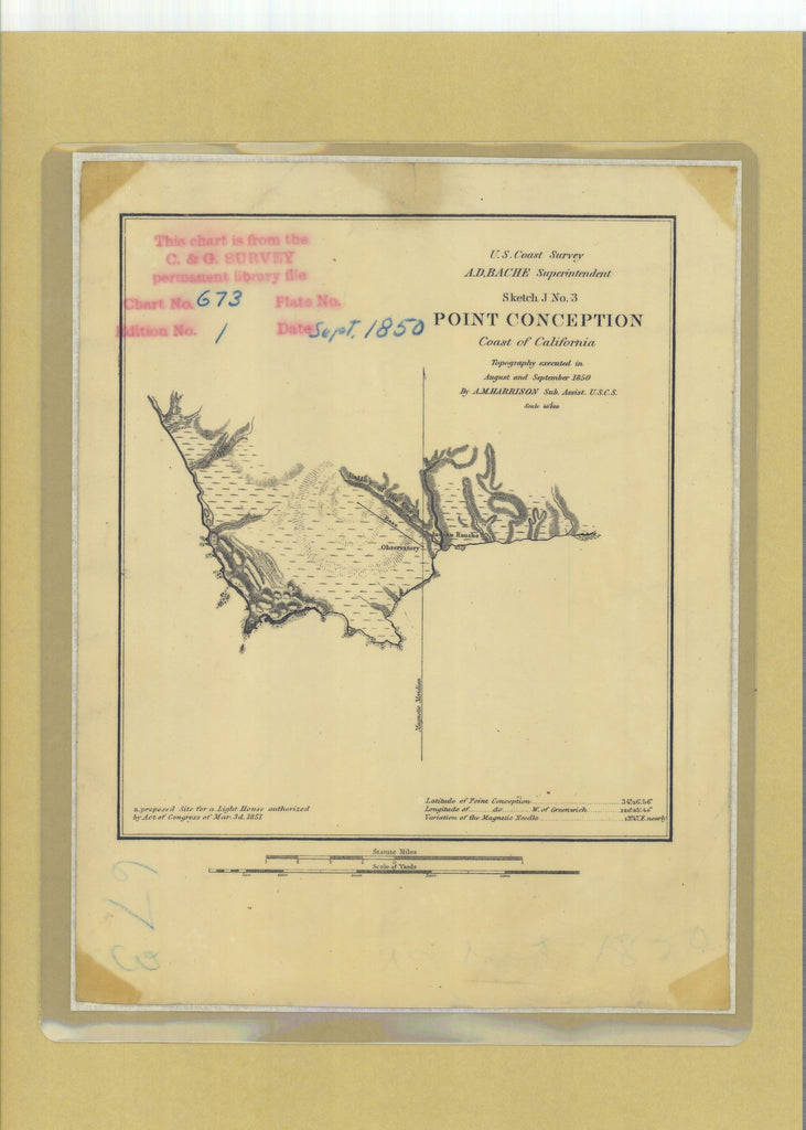 18 x 24 inch 1850 US old nautical map drawing chart of Sketch J No 3 Point Conception From  U.S. Coast Survey x5044