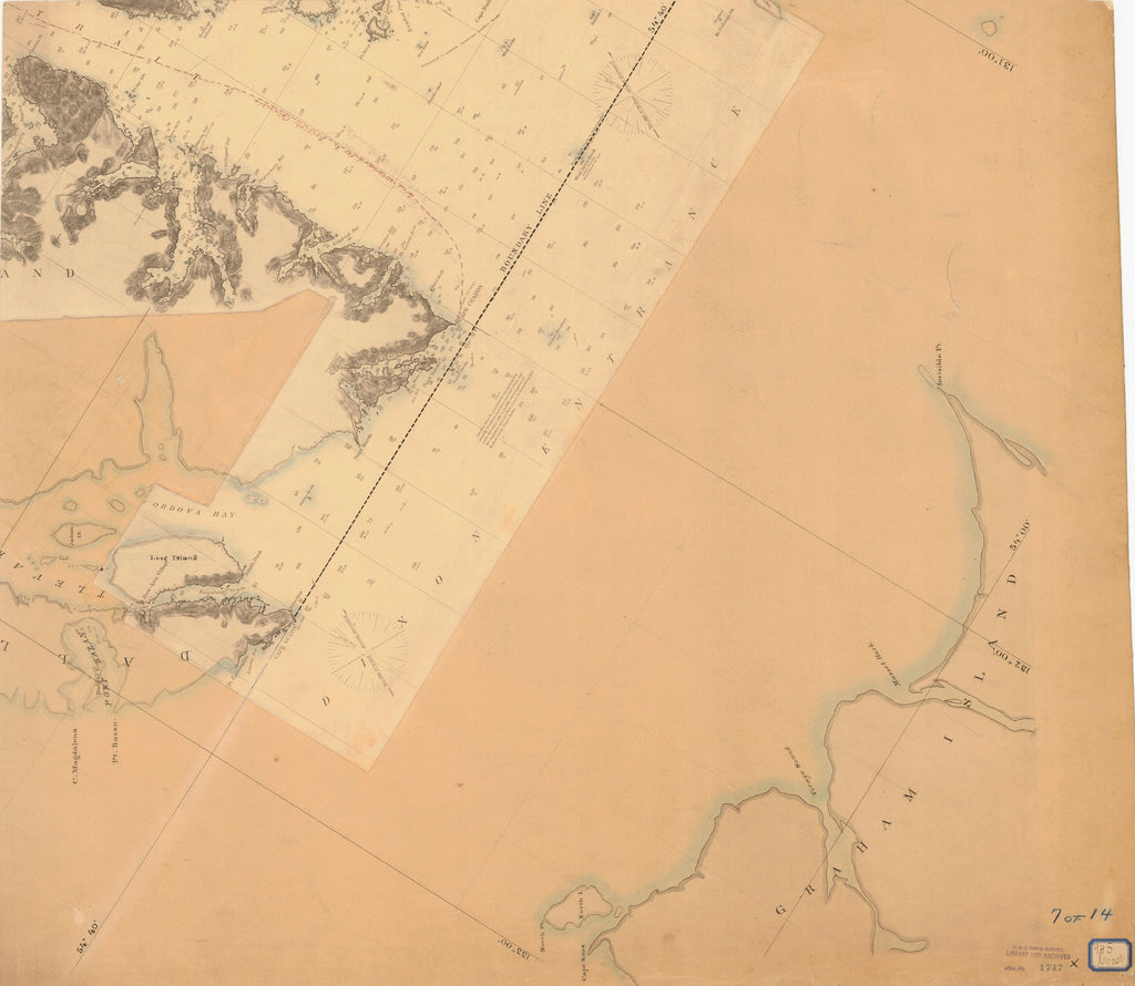 18 x 24 inch 1747 Alaska old nautical map drawing chart of YAKUTAT BAY 7 OF 14 From  NOAA x12171
