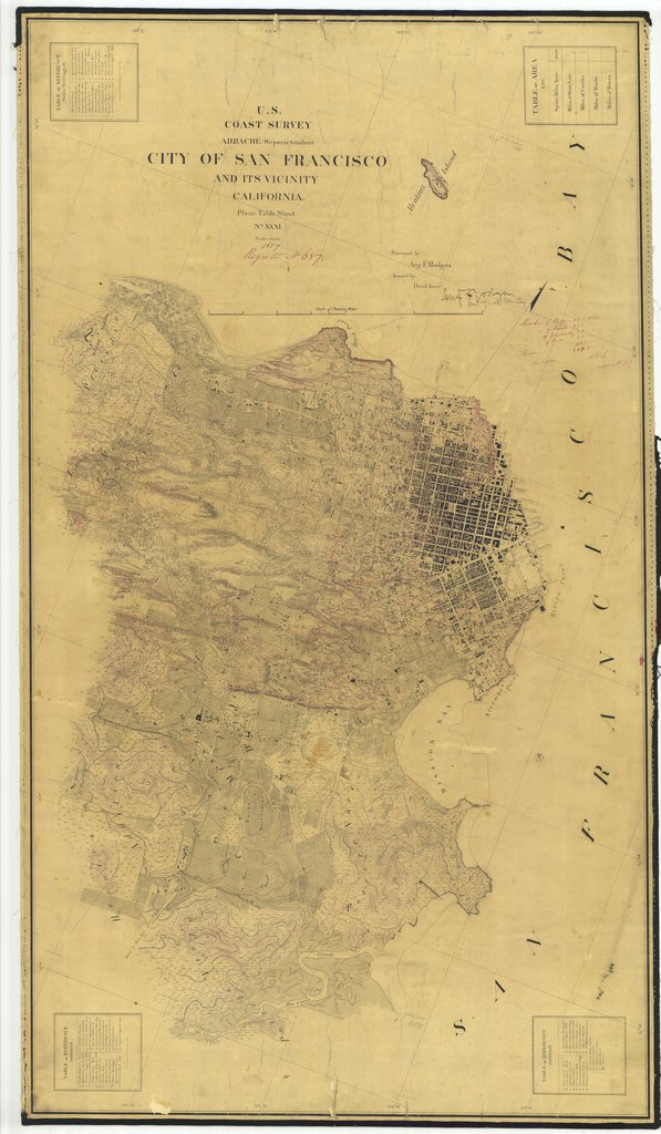 18 x 24 inch 1857 US old nautical map drawing chart of City of San Francisco and Its Vicinity, California From  U.S. Coast Survey x1668