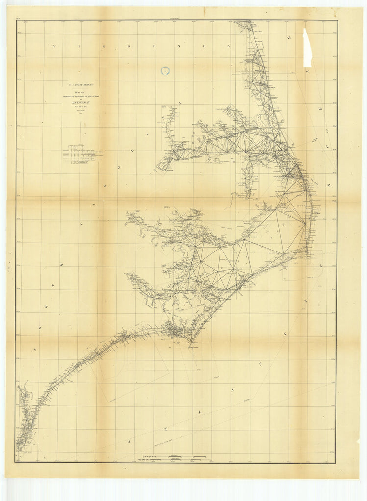 18 x 24 inch 1877 North Carolina old nautical map drawing chart of Sketch Showing the Progress of the Survey in Section #4 from 1845 to 1877 From  U.S. Coast Survey x7204