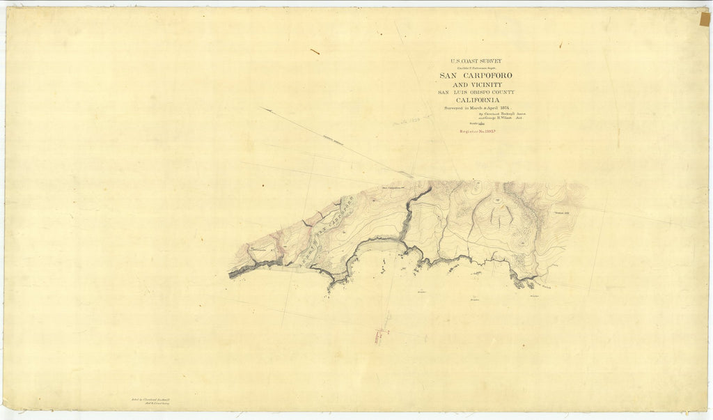 18 x 24 inch 1874 US old nautical map drawing chart of San Carpoforo and Vicinity From  U.S. Coast Survey x2080