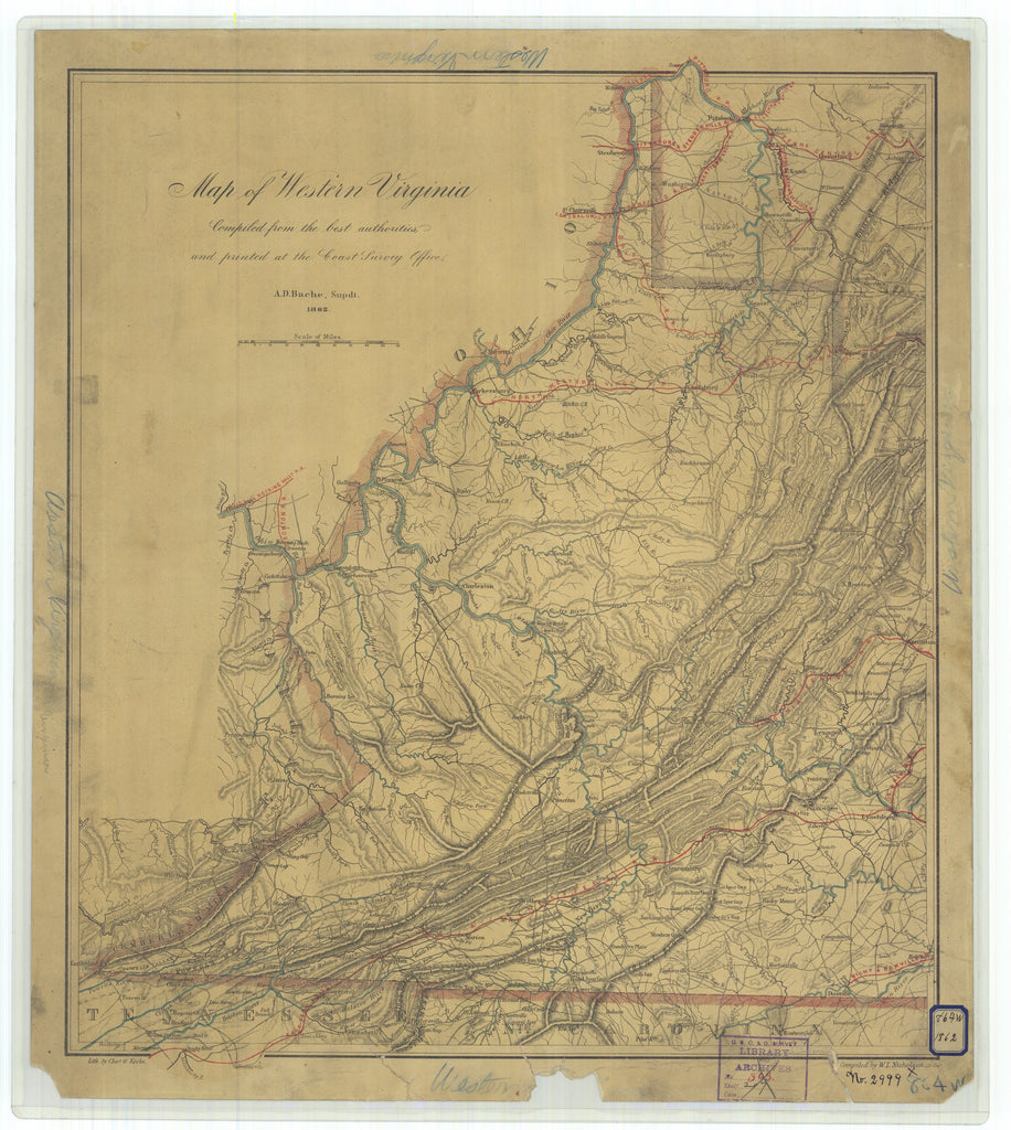 18 x 24 inch 1862 Ohio old nautical map drawing chart of Map of Western Virginia From  U.S. Coast Survey x6746