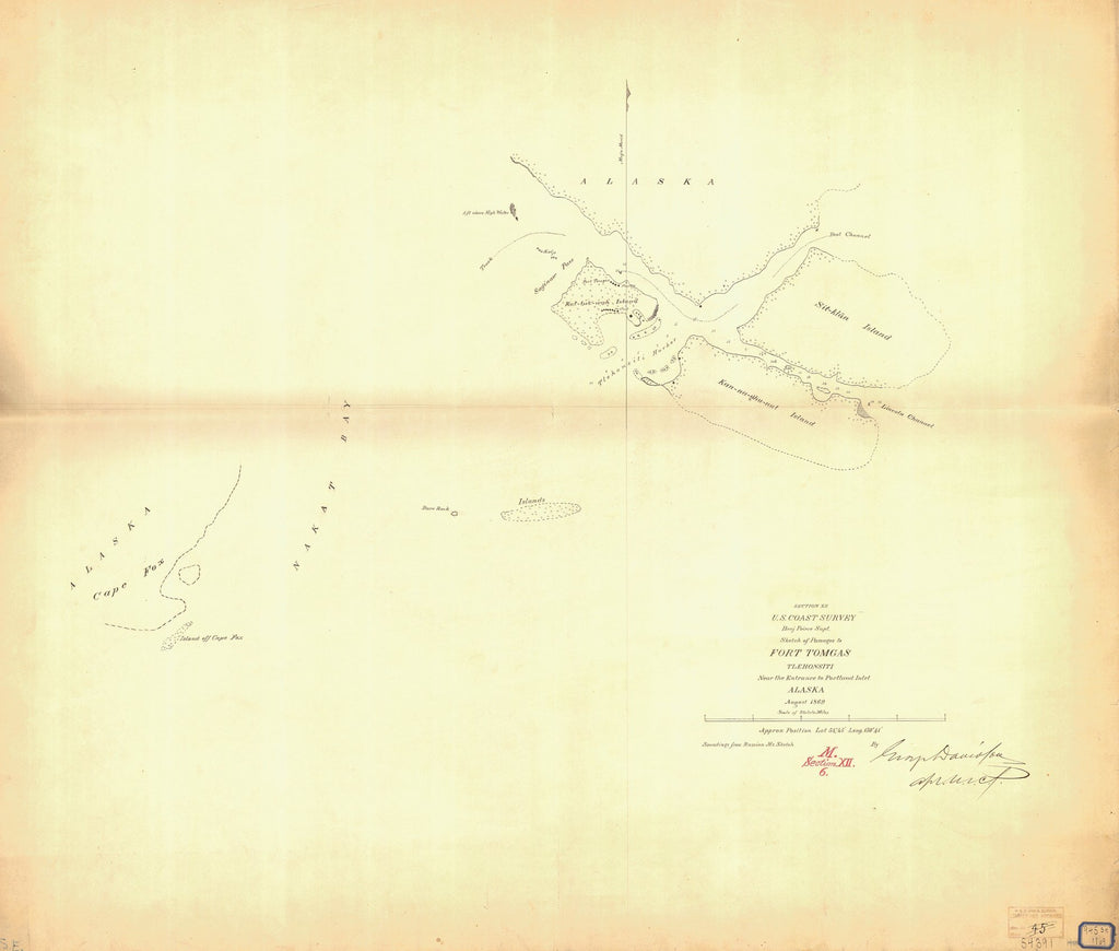18 x 24 inch 1869 US old nautical map drawing chart of SKETCH OF PASSAGES TO FORT TOMGAS From  US Coast & Geodetic Survey x1394