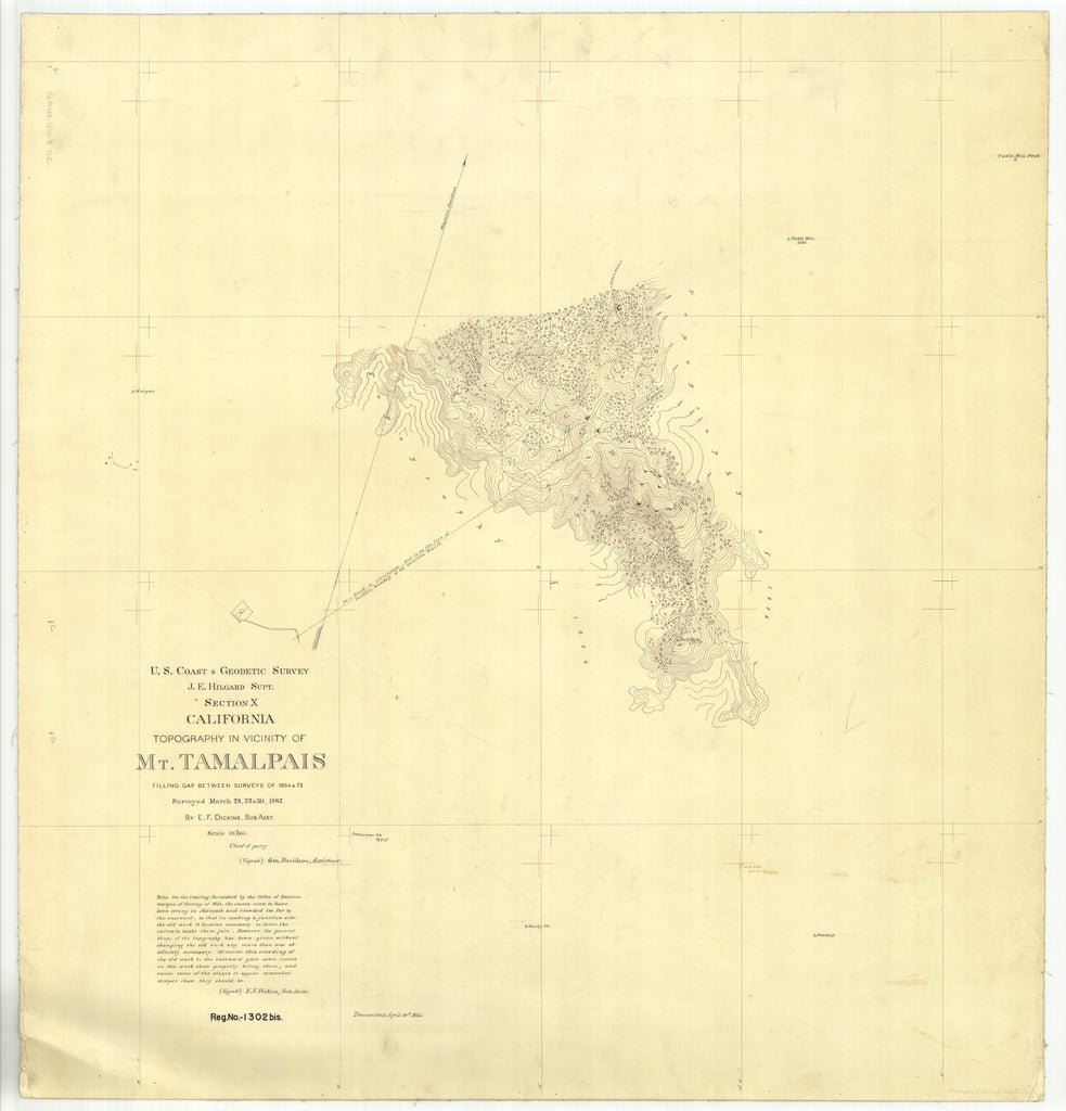 18 x 24 inch 1882 US old nautical map drawing chart of Topography in Vicinity of Mt. Tamalpais From  US Coast & Geodetic Survey x2441