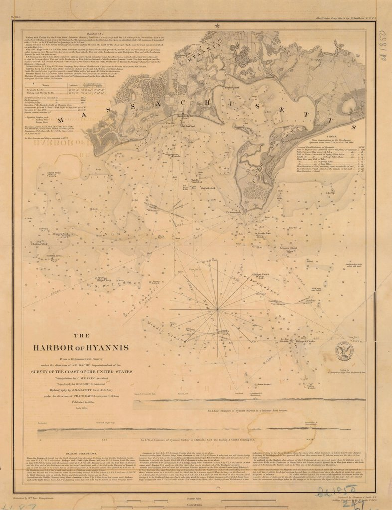 18 x 24 inch 1850 US old nautical map drawing chart of THE HARBOR OF HYANNIS From  US Coast & Geodetic Survey x2787