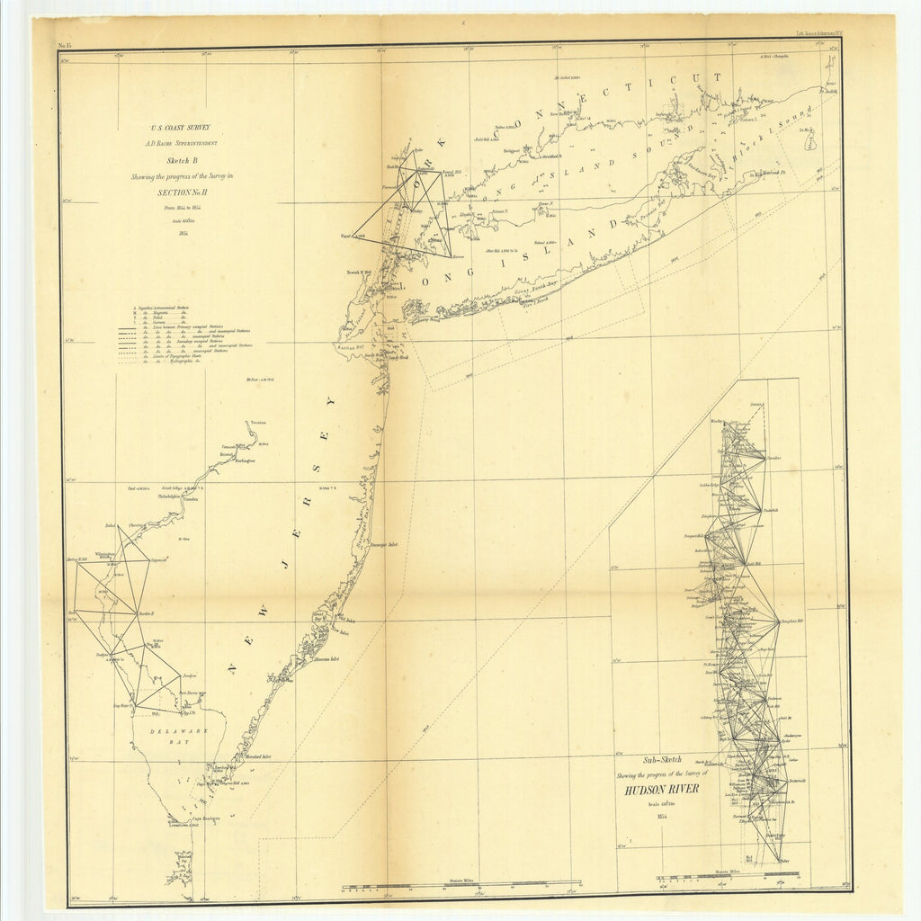 18 x 24 inch 1854 New Jersey old nautical map drawing chart of Sketch B Showing the Progress of the Survey in Section Number 2 from 1844 to 1854 with Sub Sketch Showing the Progress of the Survey of Hudson River From  U.S. Coast Survey x7423