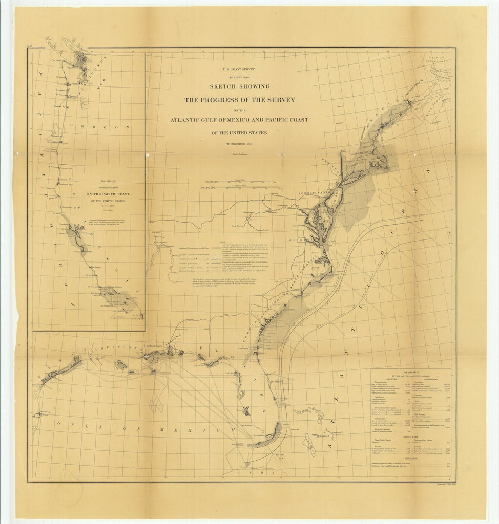 18 x 24 inch 1866 Ohio old nautical map drawing chart of Sketch Showing the Progress of the Survey on the Atlantic Gulf of Mexico and Pacific Coast of the United States to November 1866.. From  U.S. Coast Survey x6768