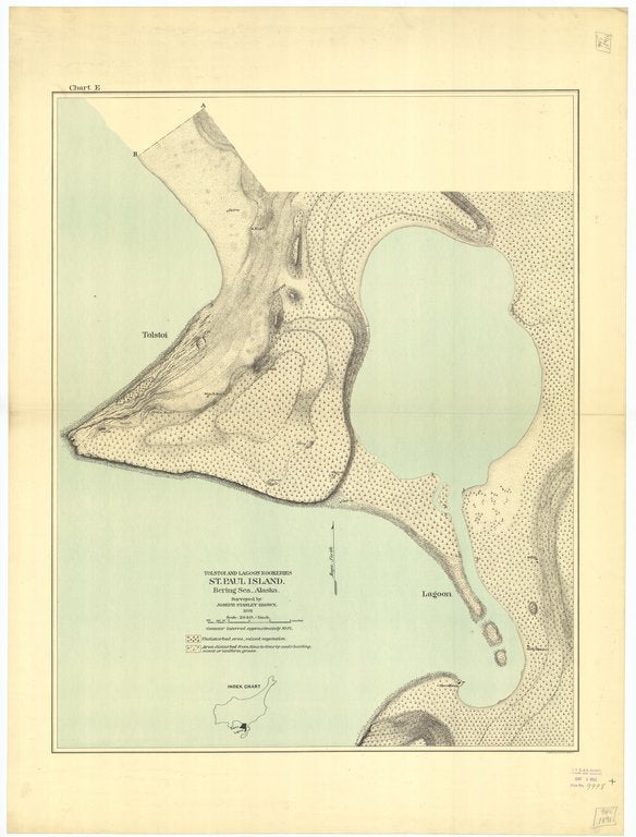 18 x 24 inch 1891 US old nautical map drawing chart of Saint Paul Island : Tolstoland Lagoon Rookeries From  US Coast & Geodetic Survey x211