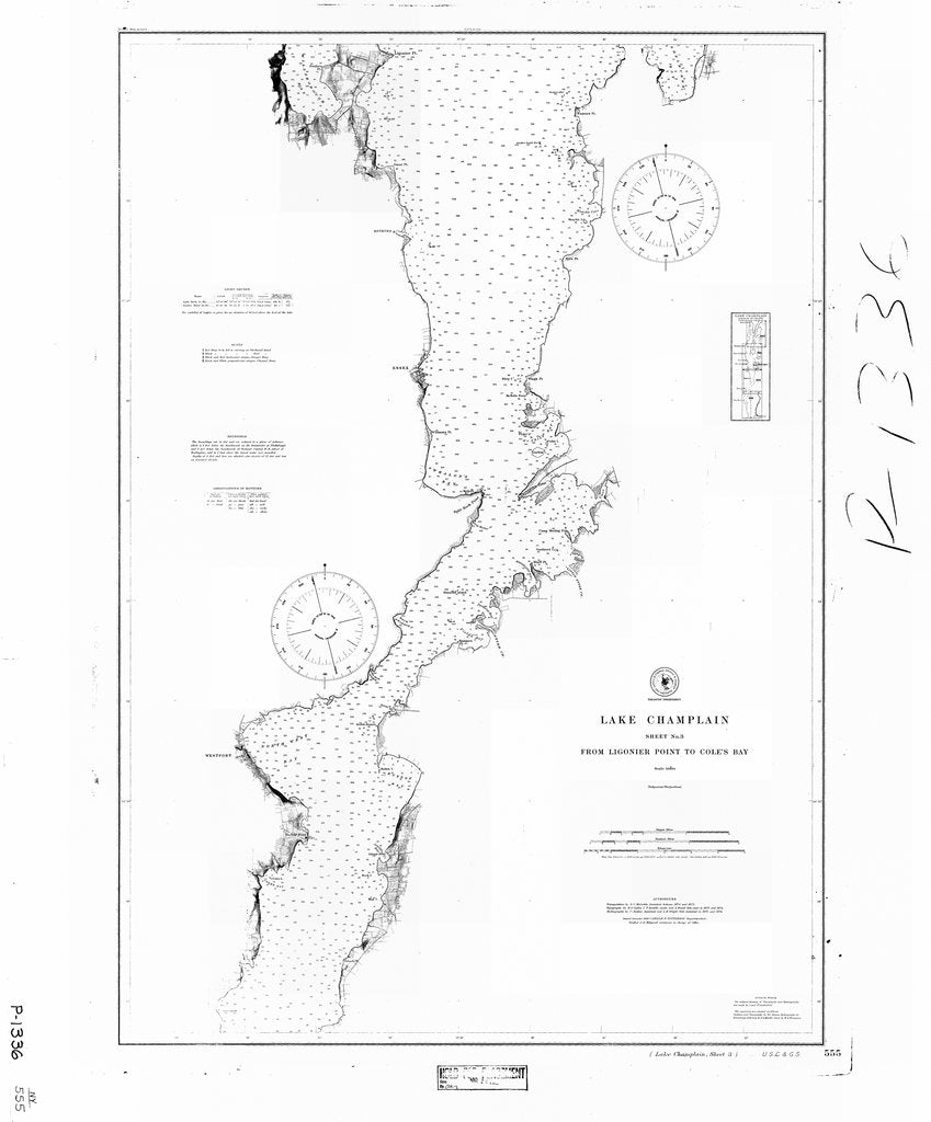 18 x 24 inch 1880 New York old nautical map drawing chart of LAKE CHAMPLAIN SHEET 3 From  C&GS x6986