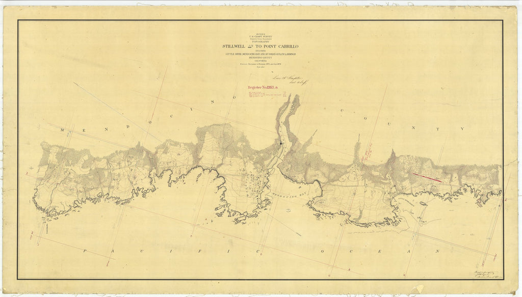 18 x 24 inch 1873 US old nautical map drawing chart of Stillwell to Point Cabrillo From  U.S. Coast Survey x2065