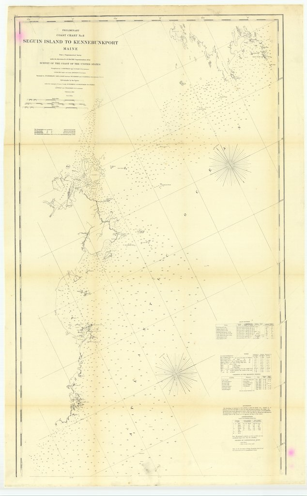 18 x 24 inch 1859 US old nautical map drawing chart of Preliminary Coast Chart Number 8, Seguin Island to Kennebunkport, Maine From  U.S. Coast Survey x5251
