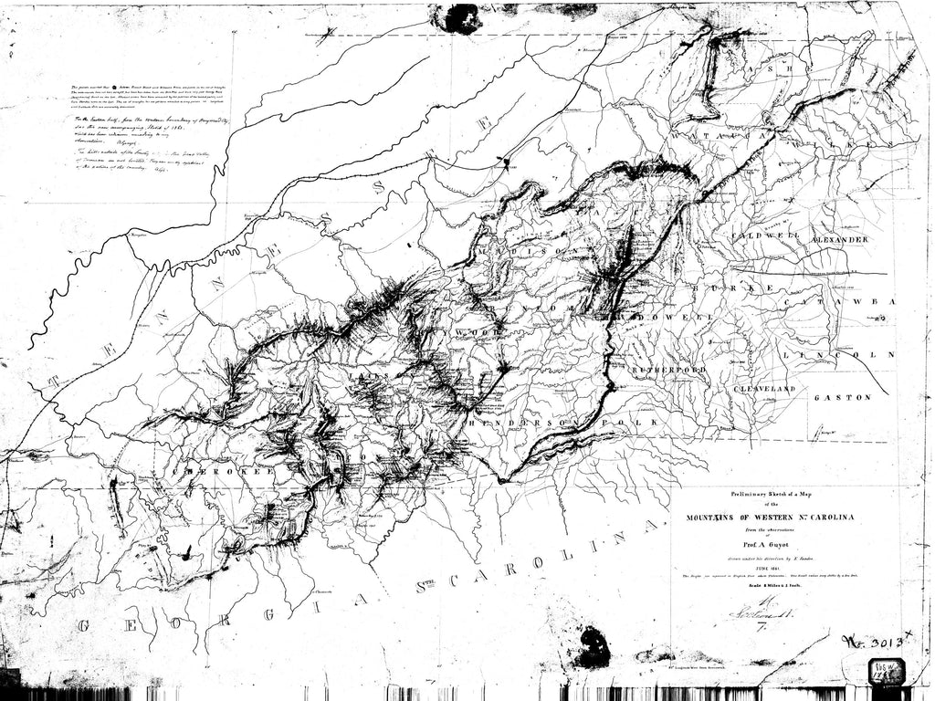 18 x 24 inch 1861 North Carolina old nautical map drawing chart of Mountains of Western North Carolina From  NOAA x7231