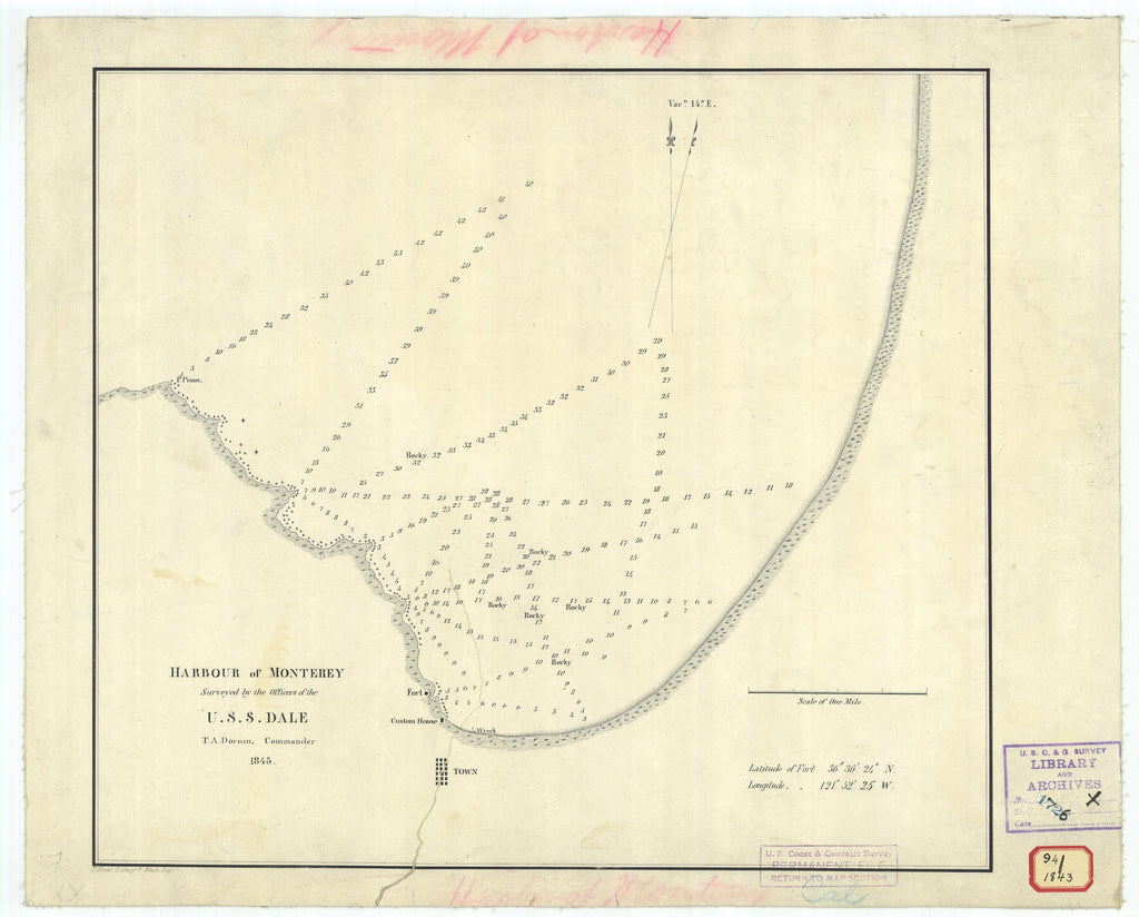 18 x 24 inch 1843 US old nautical map drawing chart of Harbor of Monterey From  Officers of the U.S.S. Dale x4614