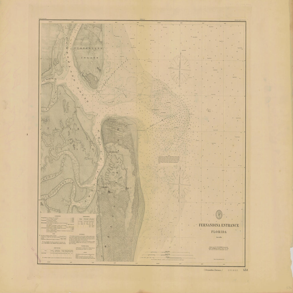 18 x 24 inch 1896 US old nautical map drawing chart of FERNANDINA ENTRANCE From  US Coast & Geodetic Survey x1314
