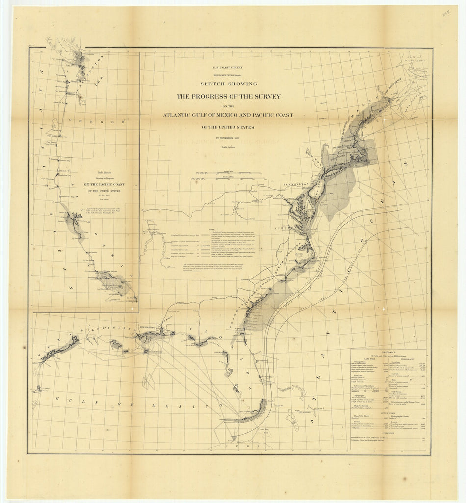 18 x 24 inch 1867 US old nautical map drawing chart of Sketch Showing the Progress of the Survey on the Atlantic Gulf of Mexico and Pacific Coast of the United States to November 1867.. From  U.S. Coast Survey x1030