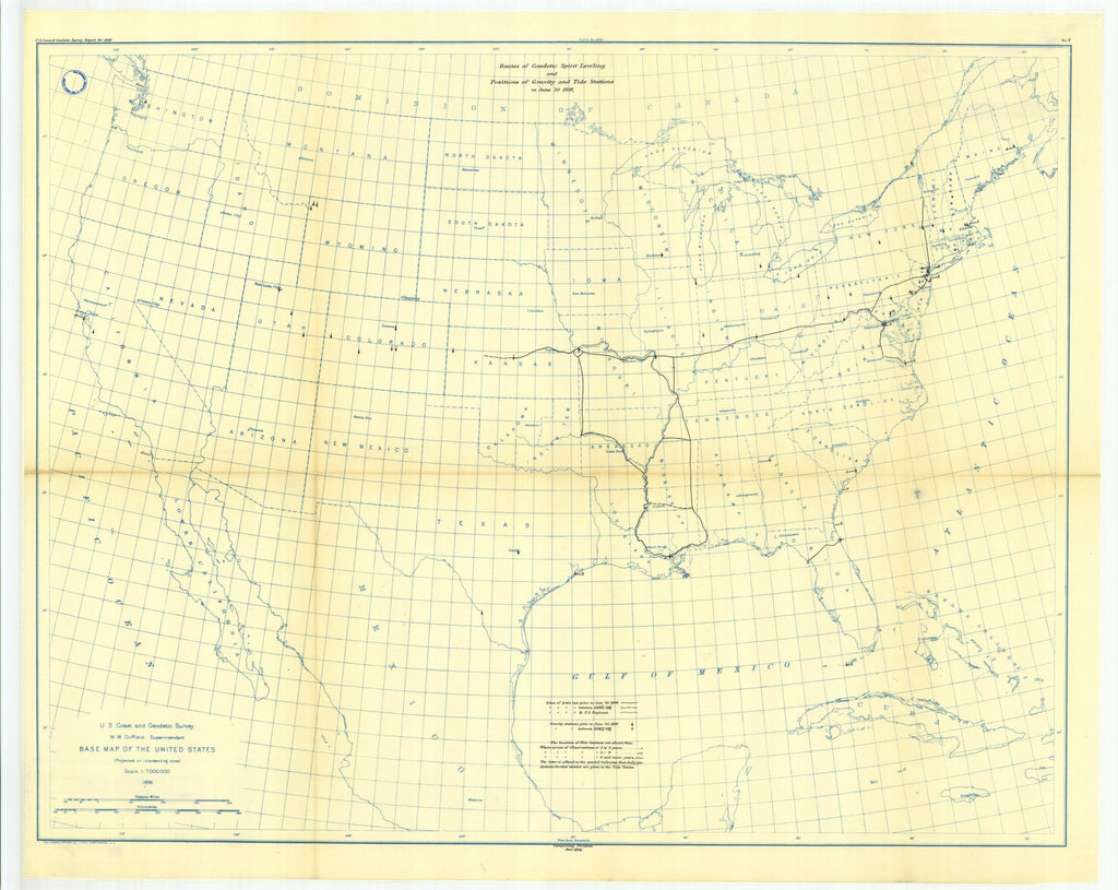 18 x 24 inch 1897 USA old nautical map drawing chart of 7. Map showing lines of geodetic lovoliug run, and positions of gravity and tide stations to June 30, 1897. From  US Coast & Geodetic Survey x12104