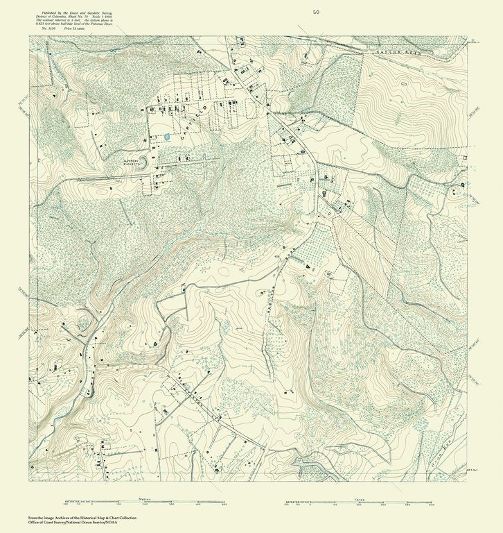 18 x 24 inch 1888 US old nautical map drawing chart of Topographic Map of Washington and Vicinity, Sheet 50 From  NOAA x375