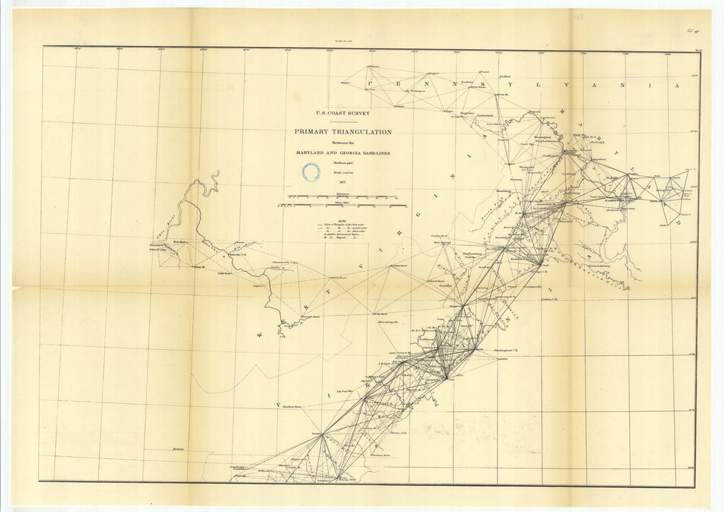 18 x 24 inch 1877 US old nautical map drawing chart of Primary Triangulation Between the Maryland and Georgia Base-Lines, Northern Part From  U.S. Coast Survey x988